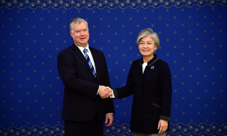 October 29, 2018 - Special Representative for North Korea Stephen Biegun met with South Korean Foreign Minister Kang Kyung-wha and Special Representative for Korean Peninsula Peace and Security Affairs Lee Do-hoon at Ministry of Foreign Affairs to discuss continued coordination on North Korea.