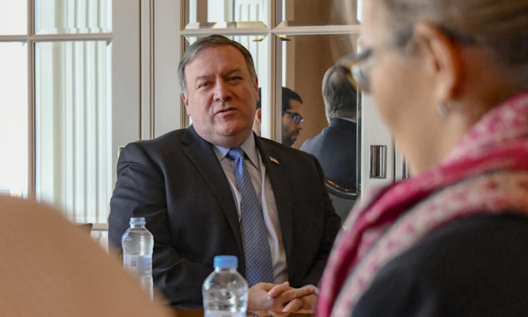 U.S. Secretary of State Michael R. Pompeo takes questions from the media in Seoul, Republic of Korea prior to departing for China on October 8, 2018. [State Department photo/ Public Domain]