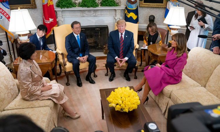 President Trump and First Lady Melania Trump Welcome President Moon Jae-in and Mrs. Kim Jung-sook of the Republic of Korea to the White House