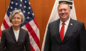 U.S. Secretary of State Michael R. Pompeo meets with Republic of Korea Foreign Minister Kyung-wha Kang, in California on January 14, 2020.