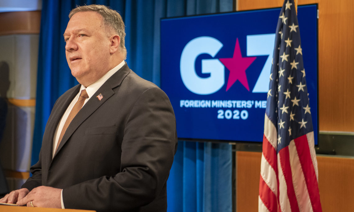 Secretary of State Michael R. Pompeo delivers remarks on the G-7 foreign ministers' meeting to the media, in the Press Briefing Room, at the Department of State on March 25, 2020. [State Department photo by Freddie Everett/ Public Domain]