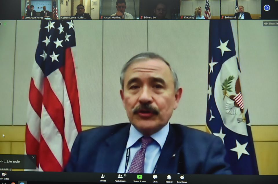 March 27, 2020 - Ambassador Harris participated in the AMCHAM Korea Board of Governors meeting today. The virtual discussion provided a valuable opportunity for him to hear firsthand from more than 25 CEOs about their experiences and outlooks related to COVID-19.