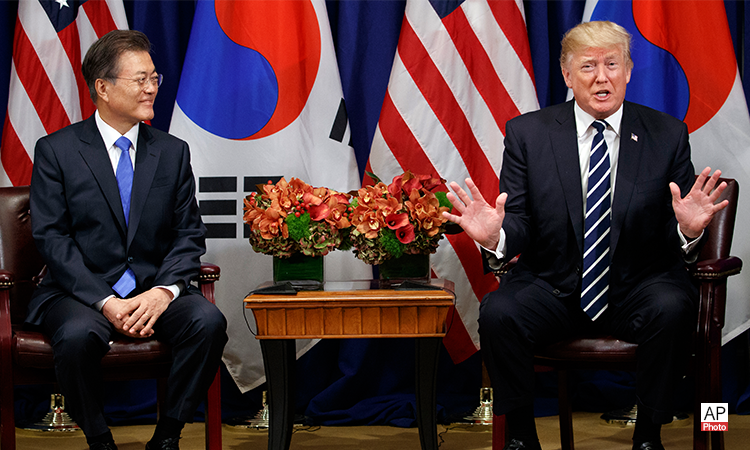 (AP Photo)President Donald Trump meets with South Korean President Moon Jae-in at the Palace Hotel during the United Nations General Assembly, Thursday, Sept. 21, 2017, in New York.