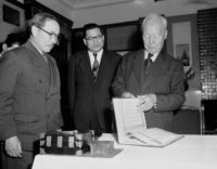 South Korean President Syngman Rhee (right), after signing the mutual defense treaty that he said would deter aggression and strengthen world security (© George Sweers/AP Images)