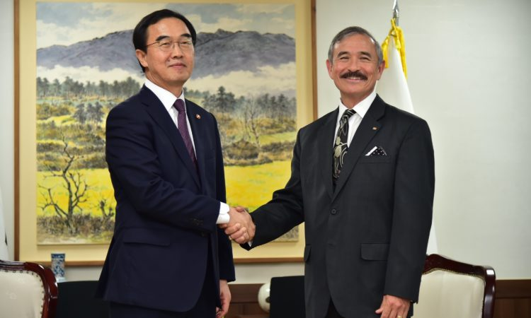 Ambassador Harry Harris Meets ROK Unification Minister Cho Myoung-gyon