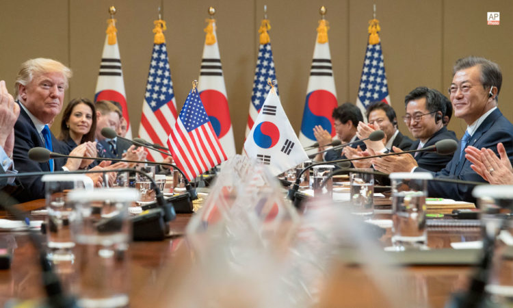 November 7, 2017 - President Donald Trump, left, and South Korean President Moon Jae-in, right, participate in a bilateral meeting at the Blue House in Seoul, South Korea. (AP Photo)