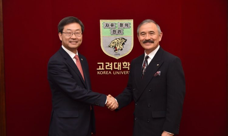 Ambassador Harry Harris Meets New Korea University President Dr. Chung Jin-Taek