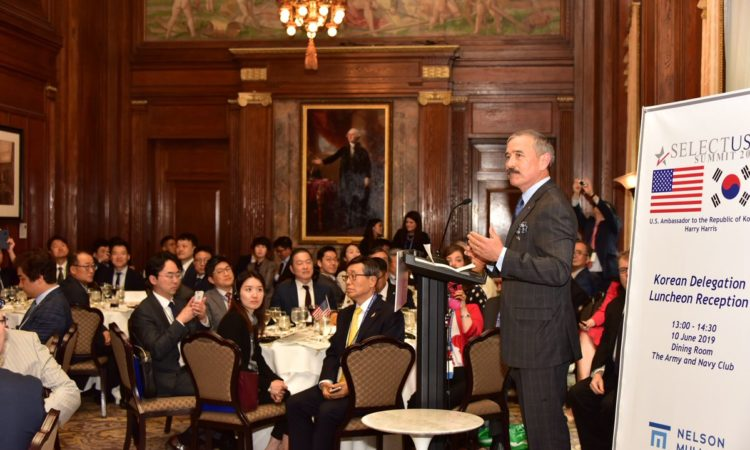June 10, 2019 - Ambassador Harry Harris delivered welcoming remarks at the 2019 SelectUSA Investment Summit in Washington, DC. Ambassador Harris led the largest-ever Korean delegation to the United States from June 10-12 for the Summit which included 83 Korean delegations.