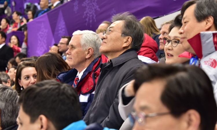 Vice President Mike Pence Watches Short Track Speedskating with President Moon