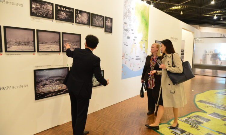 "April 30, 2018 - Minister Counselor for Public Diplomacy Aleisha Woodward (center) visited an exhibit titled ""Yongsan: The Unreachable Land"" at the Yongsan War Memorial which documents the history of Yongsan and the U.S. Army base."