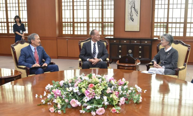 July 17, 2019 - U.S. Assistant Secretary of State for the Bureau of East Asian and Pacific Affairs David R. Stilwell (center) and Ambassador Harry Harris (left) met with South Korean Foreign Minister Kang Kyung-wha (right) to discuss U.S.-ROK bilateral economic, political, and military ties.