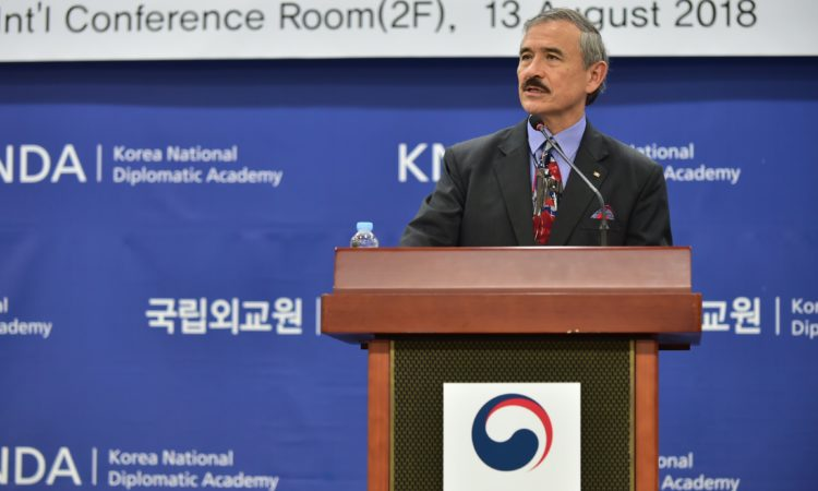 August 13, 2018 - Ambassador Harry Harris shared his views on the U.S.-ROK Alliance in a speech at the Korea National Diplomatic Academy.