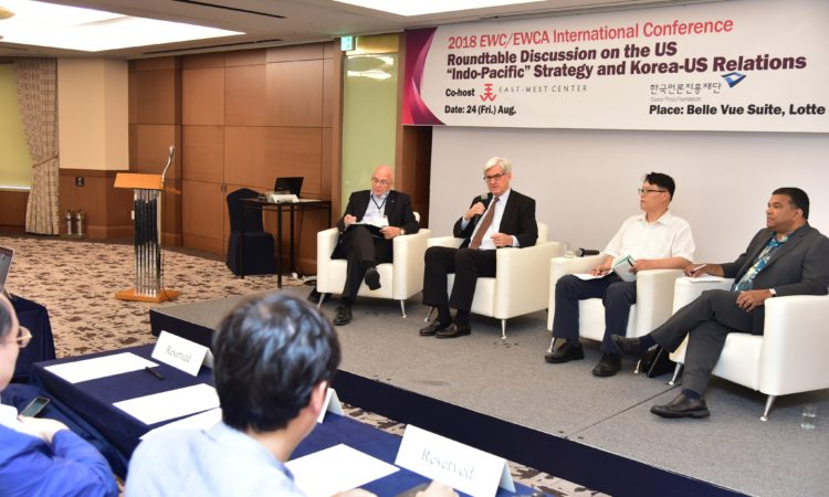 August 24, 2018 - U.S. Deputy Assistant Secretary Walter Douglas visited Korea and participated in a roundtable discussion on the U.S. Indo-Pacific strategy and U.S.-ROK relations at the 2018 EWC/EWCA International Conference.
