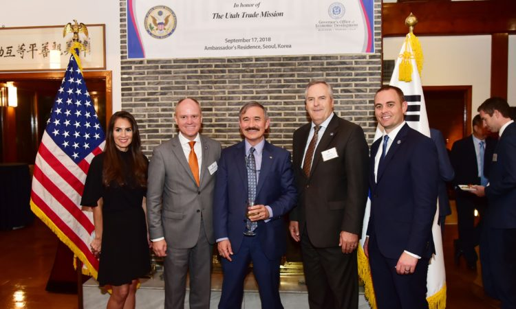 September 17, 2018 – Ambassador Harry Harris (center) hosted a business networking reception in honor of the Utah Trade Mission led by Governor's Office of Economic Development Executive Director Val Hale (2nd from right).