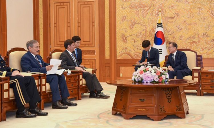 08/09 - U.S. Secretary of Defense Mark T. Esper met with South Korean President Moon Jae-in and discussed current security challenges on the Korean Peninsula. Secretary Esper notes that the strength of the U.S.-ROK Alliance is critical to support ongoing diplomatic efforts and deter aggression.