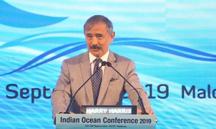 "September 4, 2019 - Ambassador Harry Harris delivered remarks on ""Working Together for the Future of the Indo Pacific Region"" at the Indian Ocean Region Conference 2019 in Maldives."
