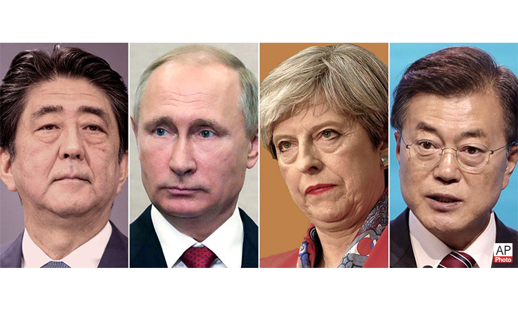Among the world leaders criticizing North Korea's actions: Japan's Shinzō Abe, Russia's Vladimir Putin, the United Kingdom's Theresa May and South Korea's Moon Jae-in (© AP Images)