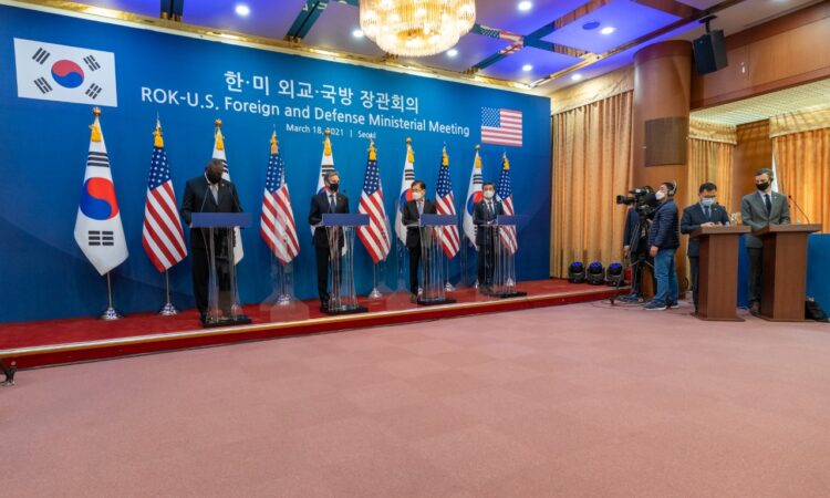 Secretary Antony J. Blinken, Secretary of Defense Lloyd Austin, Republic of Korea Foreign Minister Chung Eui-yong, and Republic of Korea Defense Minister Suh Wook at a Joint Press Availability