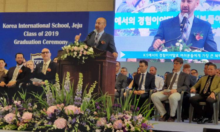 Consul Delivers Commencement Address at KIS Jeju's Graduation Ceremony