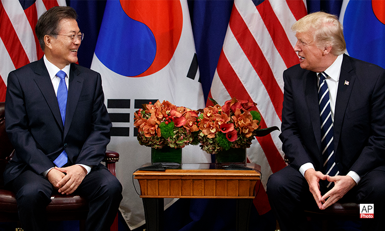 President Donald Trump meets with South Korean President Moon Jae-in at the Palace Hotel during the United Nations General Assembly, Thursday, Sept. 21, 2017, in New York(AP Photo)