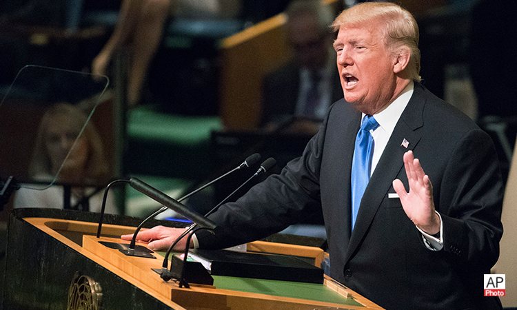 U.S. President Donald Trump speaks during the 72nd session of the United Nations General Assembly at U.N. headquarters, Tuesday, Sept. 19, 2017(AP Photo)