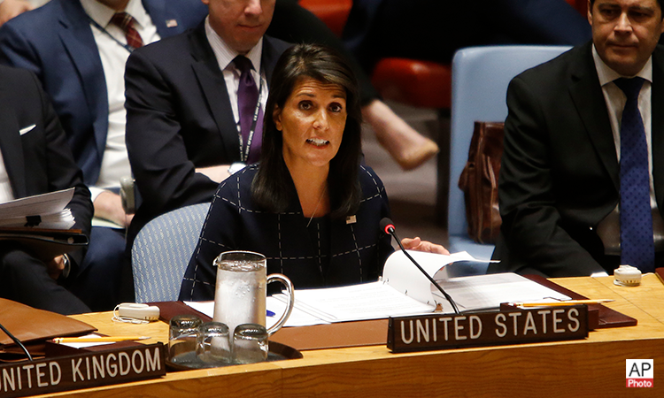 United States Ambassador to the United Nations Nikki Haley speaks after voting to adopt a new sanctions resolution against North Korea during a meeting of the U.N. Security Council at U.N. headquarters, Monday, Sept. 11, 2017. (AP Photo)