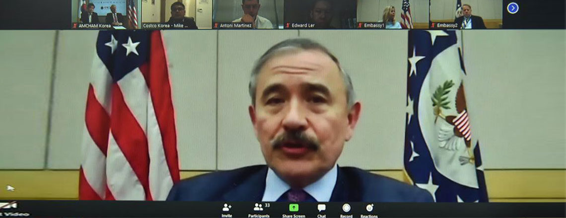 Ambassador Participates in Virtual American Chamber of Commerce Meeting