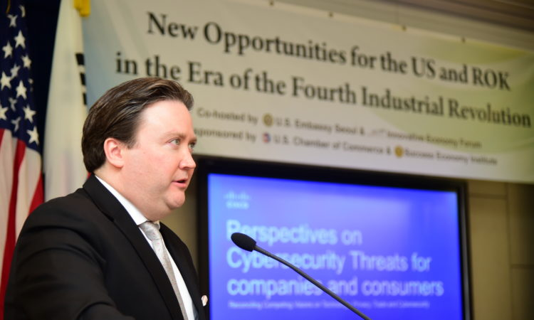April 11, 2018 – Chargé d'Affaires Marc Knapper delivered remarks on new opportunities for the U.S. and ROK in the era of the Fourth industrial revolution at the American Center Korea.