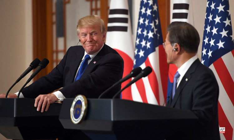 November 7, 2017 - U.S. President Donald Trump, left, with Republic of Korea President Moon Jae-In during a joint press conference at the presidential Blue House in Seoul, South Korea (AP Photo)