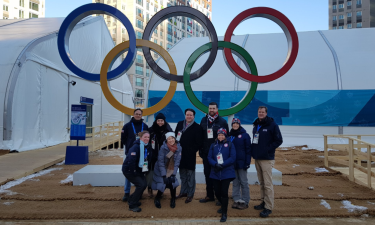 February 6, 2018 - Chargé d'Affaires Marc Knapper (3rd from left in back) welcomed Team USA at the PyeongChang Olympic Village.