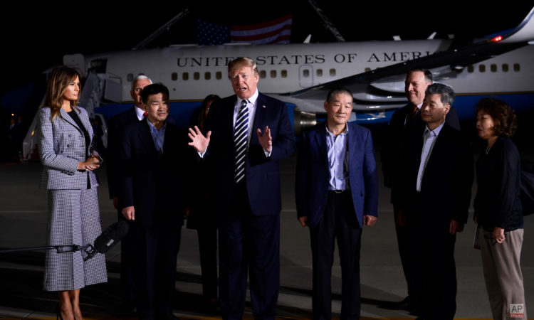 May 10, 2018 - President Donald Trump and First lady Melania Trump welcomed Tony Kim, Kim Hak Song, and Kim Dong Chul, three Americans detained in North Korea for more than a year, as they arrive at Andrews Air Force Base in Maryland. (AP Photo)