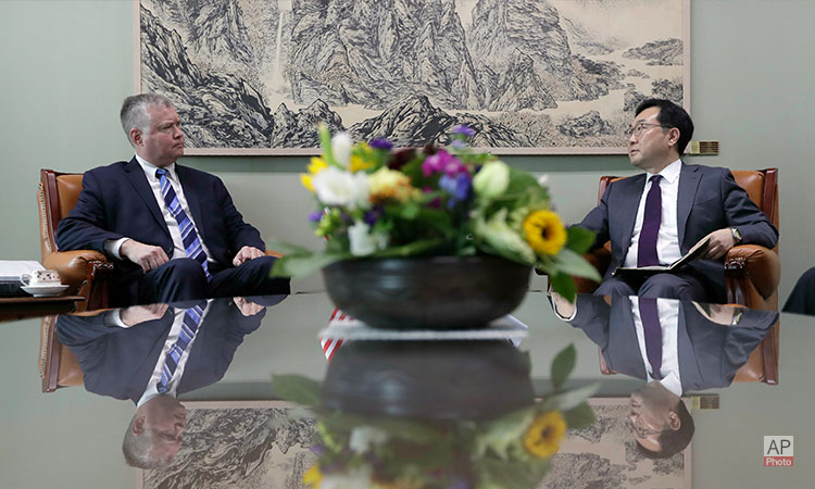 June 28, 2019- U.S. Special Representative for North Korea Stephen Biegun (left) meets with ROK Special Representative for Korean Peninsula Peace and Security Affairs Lee Do-hoon at Foreign Ministry in Seoul, South Korea. (AP Photo)