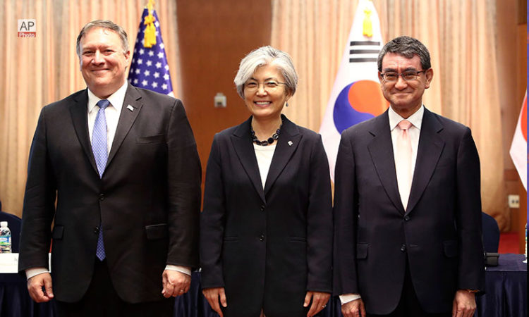 June 14, 2018 - U.S. Secretary of State Mike Pompeo, left, South Korean Foreign Minister Kang Kyung-wha, center, and Japanese Foreign Minister Taro Kono pose for a photo before their meeting at Foreign Ministry in Seoul.