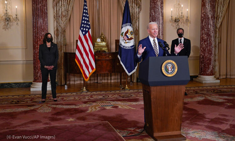 President Biden delivers a speech at the State Department February 4 on the value of the United States' international partnerships. (© Evan Vucci/AP Images)