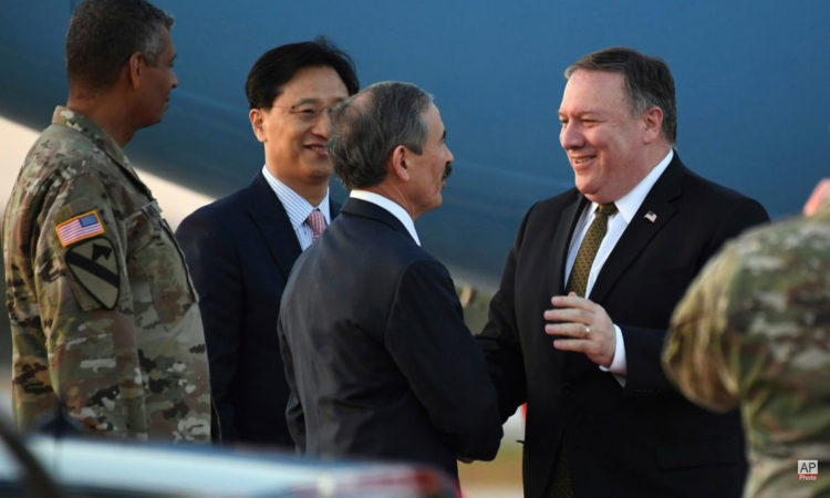 U.S. Secretary of State Mike Pompeo Arrives at Osan Air Base in South Korea