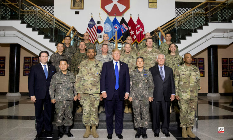 November 7, 2017 - President Donald Trump, center, Secretary Rex Tillerson, first row second right, and Chargé d'Affaires Marc Knapper, first row left, visit U.S. Army Garrison Humphreys.