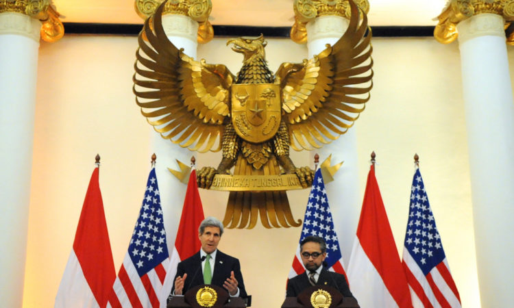 Secretary of State John Kerry with Indonesian Ministry of Foreign Affairs
