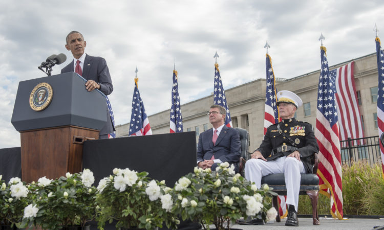 President Barack Obama speaks during a ceremony honoring the 15th anniversary of the 9/11 attacks Sept. 11, 2016, at the Pentagon in Washington, D.C. (DoD photo by U.S. Air Force Tech. Sgt. Brigitte N. Brantley)