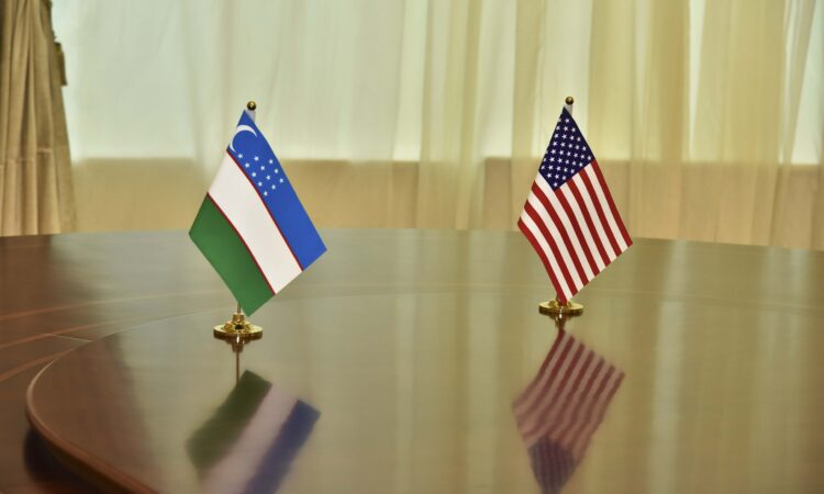 U.S.-Uzbek flags