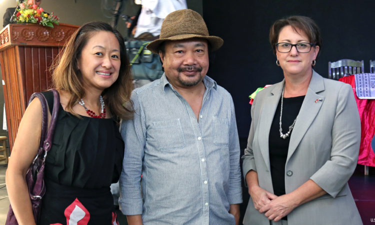 (From left to right) U.S. Embassy's Chargé d'affaires Julie Chung, Cambodian film director Rithy Panh, Australian Ambassador Angela Corcoran