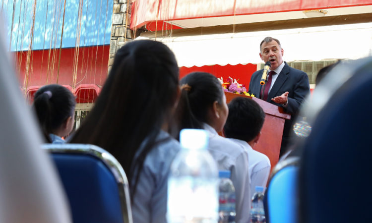 Ambassador William Heidt delivers remarks at the graduation ceremony for 40 Cambodian students who just finished two years of learning English in the English Access Microscholarship Program in Phnom Penh, which was sponsored by the U.S. Embassy. [U.S. Embassy photo by Priyanith]