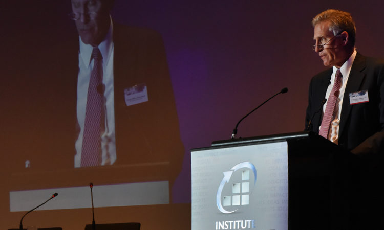 Chargé D'Affaires James Carouso delivers speech at the annual IFRS dinner