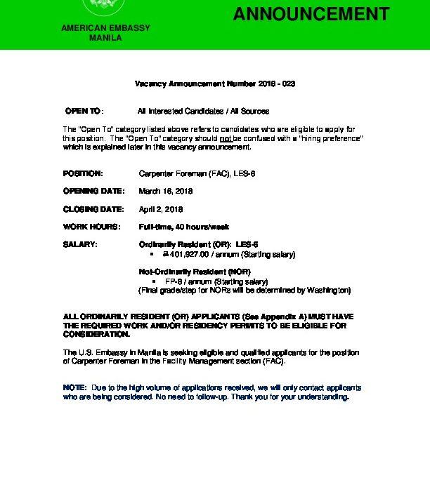 023 Carpenter Foreman (FAC), LES-6 docx | U S  Embassy in