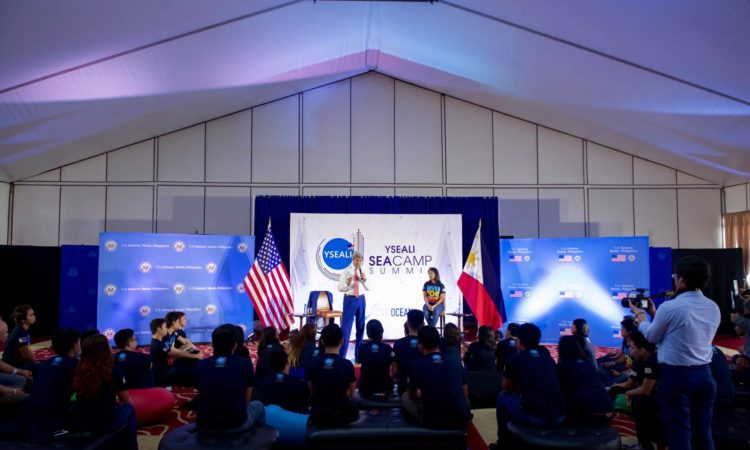 U.S. Secretary of State John Kerry delivers opening remarks at a Young Southeast Asian Leaders Initiative (YSEALI) Sea and Earth Advocate Camp on July 27, 2016, at the Sofitel Hotel in Manila, Philippines, before the Secretary and the group held a conversation about their mutual ocean preservation efforts. [State Department Photo]