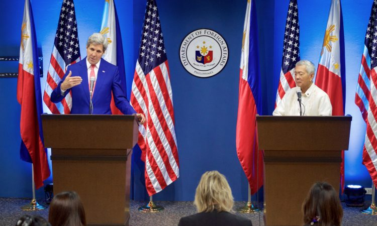U.S. Secretary of State John Kerry addresses reporters during a joint news conference with Philippines Foreign Secretary Perfecto Yasay at the Department of Foreign Affairs in Manila, Philippines, following their bilateral meeting on July 27, 2016. [State Department Photo]