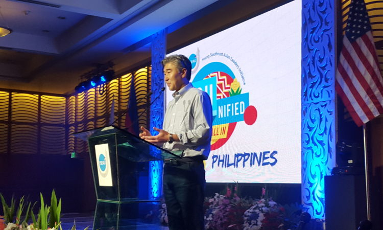 U.S. Ambassador-Designate to the Philippines Sung Kim addresses attendees at the YSEALI YOUnified event in Manila, December 3.