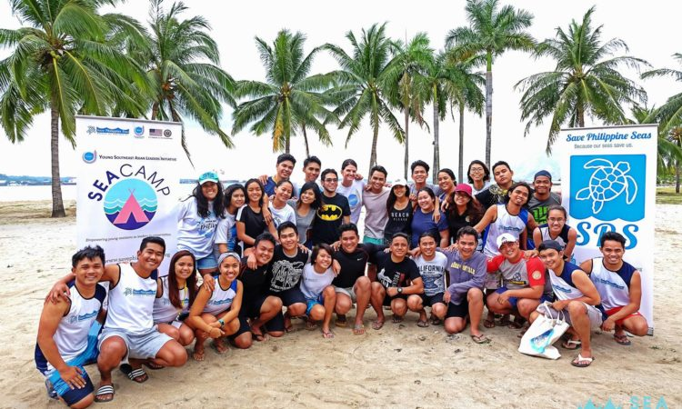 The 25 SEA Camp participants from across the Philippines pose for a photo with U.S. Embassy in the Philippines Cultural Affairs Officer Kristin Kneedler after the group's snorkeling activity in Subic.