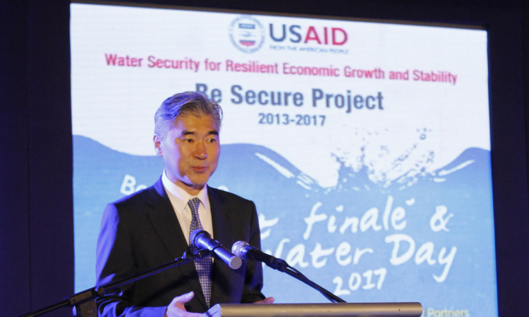 U.S. Ambassador to the Philippines Sung Y. Kim giving the keynote address at the Be Secure Project close out ceremony.