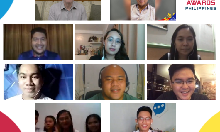 Graphic showing video chat windows of Chargé d'Affaires John Law, Senator Sonny Angara, and representatives of the recognized Filipino youth organizations