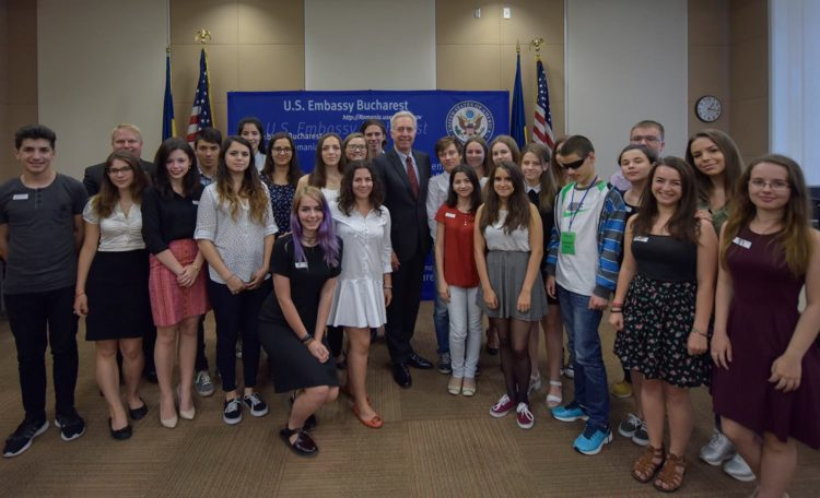 Ambassador Hans Klemm with FLEX students.